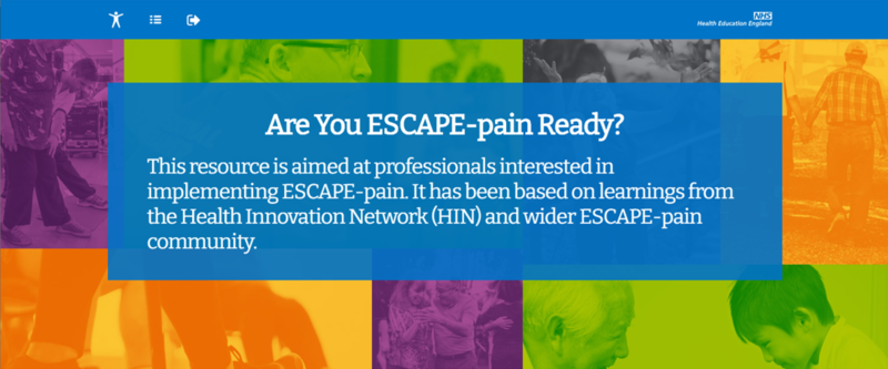 Image of the landing for the ESCAPE-pain e-Learning module 'Are you ESCAPE-pain Ready?'
