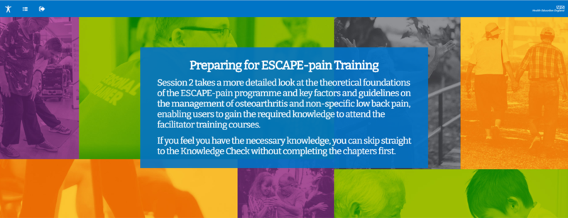 Image of the landing for the ESCAPE-pain e-Learning module 'Preparing for ESCAPE-pain Training'
